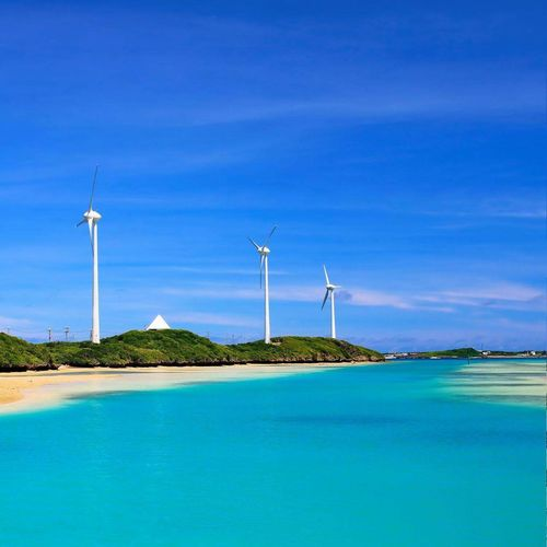 Environmental Conservation Wind Power Wind Turbine Alternative Energy Fuel And Power Generation Renewable Energy Sea Sustainable Resources Social Issues Environmental Issues Business Finance And Industry Blue Nature Electricity  Turbine Landscape Wind Day Beach Outdoors