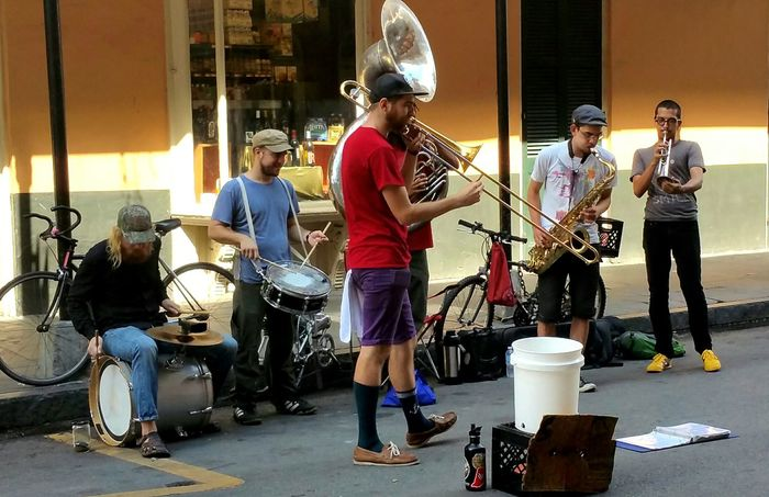 TwentySomething New Orleans Burbon Street Street Band Street Photography EyeEm Gallery Popular Photos Street Music Bycicles Music Brings Us Together TakeoverMusic This Is Masculinity Stories From The City #urbanana: The Urban Playground