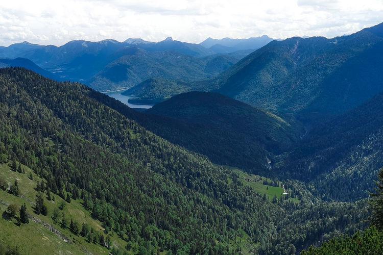 Scenic view from bavarian alps pirschschneid down to the valley and sylvensteinstausee