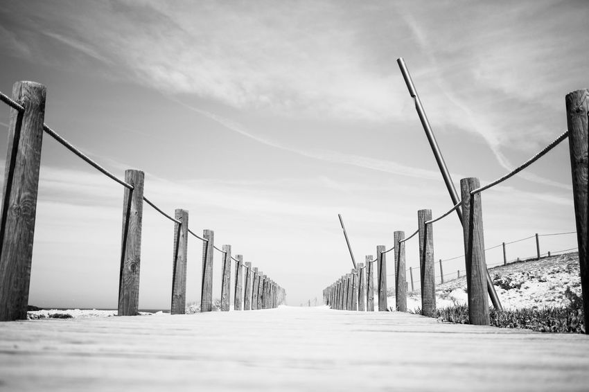 to the beach Beach Blackandwhite Built Structure Cloud - Sky Connection Day Fine Art Photography Hikinggalicia Landscape Monochrome Nature No People Outdoors Sea Sky Snow Miles Away