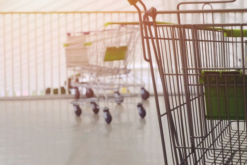 Shopping cart at supermarket Business Shopping Cart Shopping Trolley Basket Sale Sell Buy Customer  Marketing Economic Economy Credit Store Shop Payment Growth Rich Purchase Investment Commercial Income Cart Earning