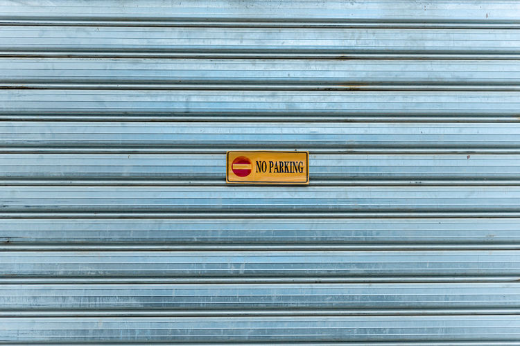Text on closed shutter