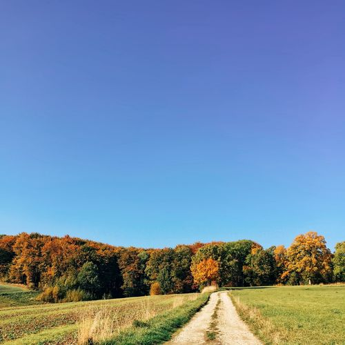 Road passing through field against clear blue sky