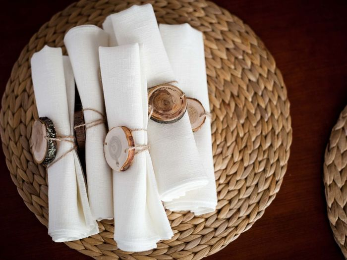 Close-up of napkins on table