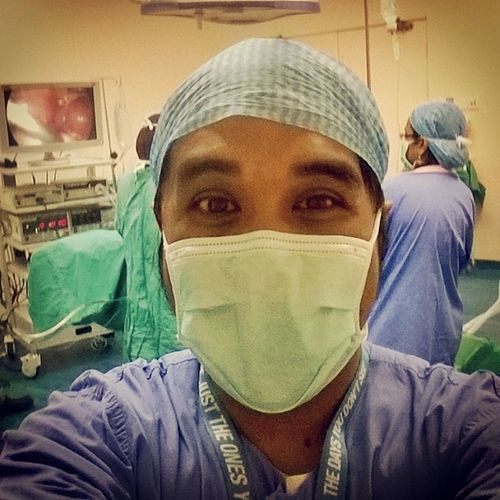 Throwback Yesterday Oncall Anesthesia HPJ selfie ?