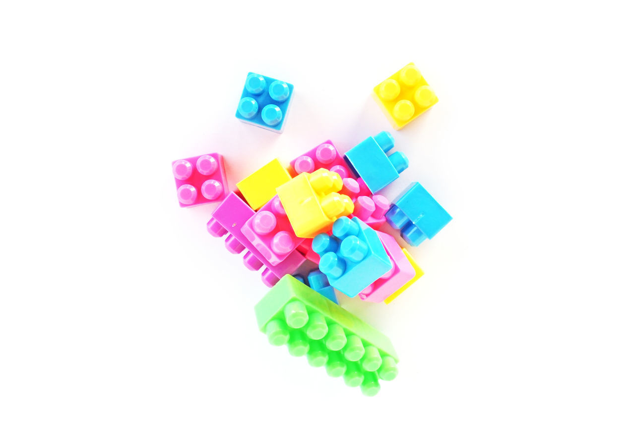 multi colored, white background, studio shot, group of objects, indoors, large group of objects, cut out, still life, no people, toy, close-up, copy space, variation, group, plastic, choice, toy block, order