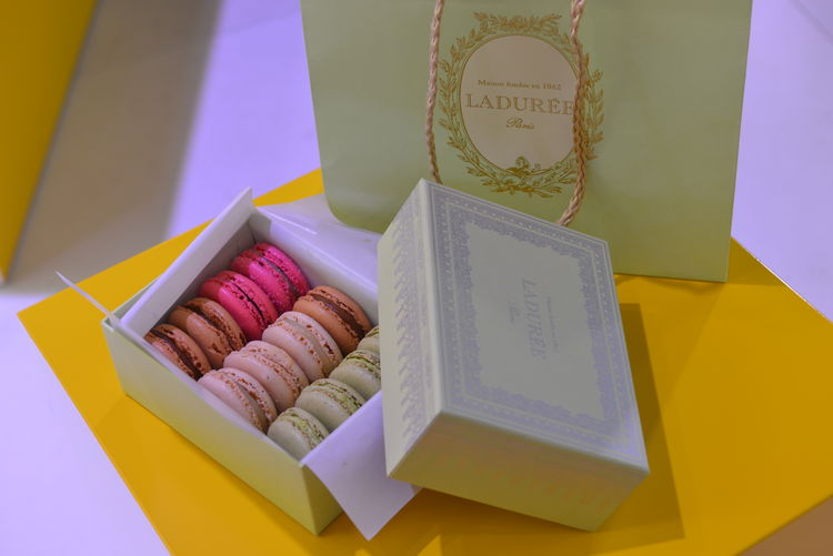 Laduree Macarons Paris Box Close-up Food Food And Drink High Angle View Indoors  Macaroon Multi Colored No People Paper Still Life Sweet Food Text