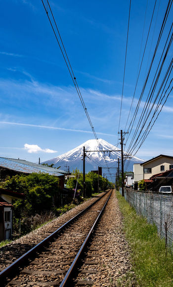 Railroad Track Track Rail Transportation Sky Transportation Cable Mode Of Transportation Nature The Way Forward Electricity  Diminishing Perspective Cloud - Sky Power Line  Architecture No People Public Transportation Day Built Structure Direction Building Exterior Outdoors Power Supply