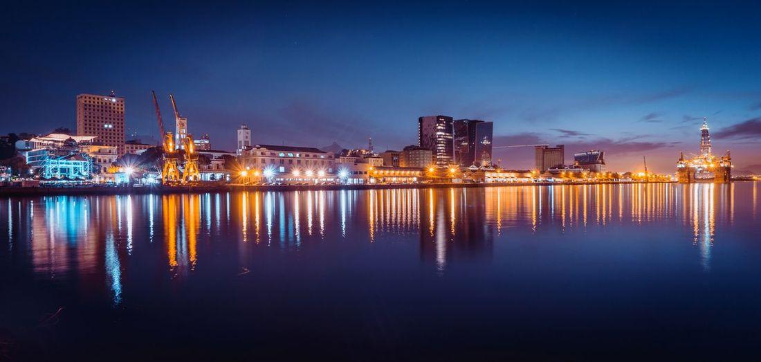EyeEm Selects City Cityscape Urban Skyline Water Illuminated Skyscraper Sea Modern Nightlife Business Finance And Industry