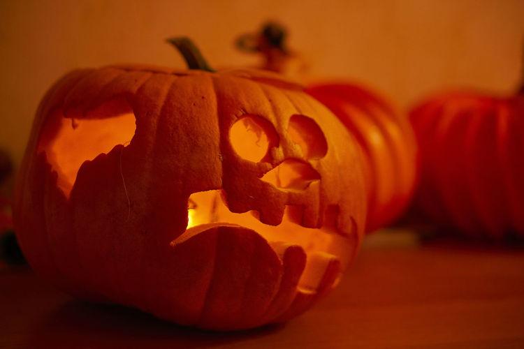 Close-up of pumpkin face