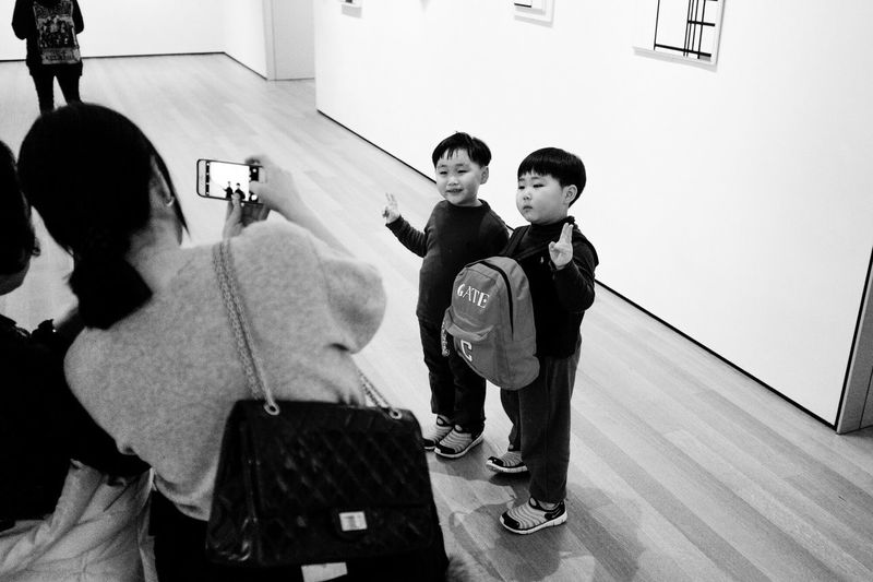 Boys Childhood Full Length Child Elementary Age School Uniform Girls Real People Indoors  Standing Togetherness Day Friendship Men People Adult Moma Museum Of Modern Art New York