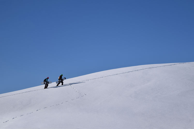 People on snow covered landscape against clear blue sky