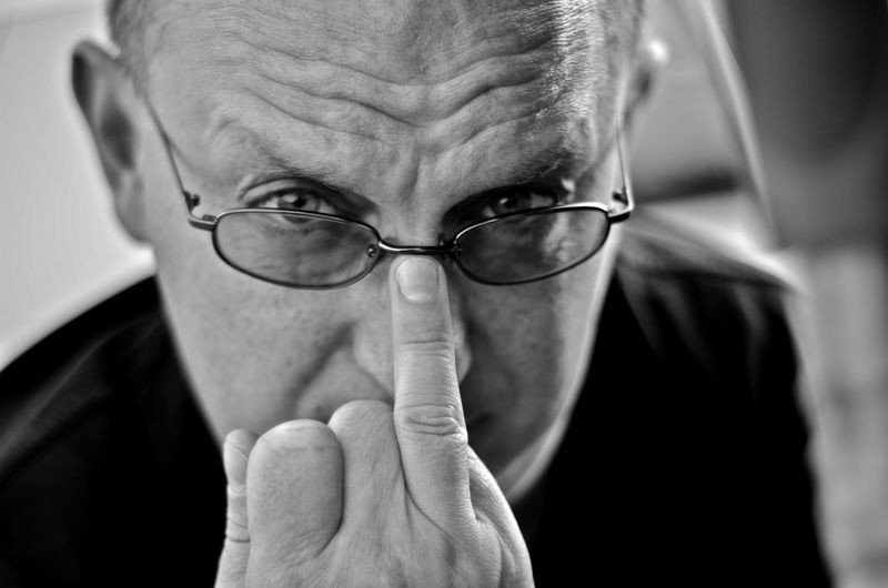 """not a middle finger"" Eyesight Eyeglasses  Men Human Eye Portrait Human Face Senior Adult Scientist Close-up"
