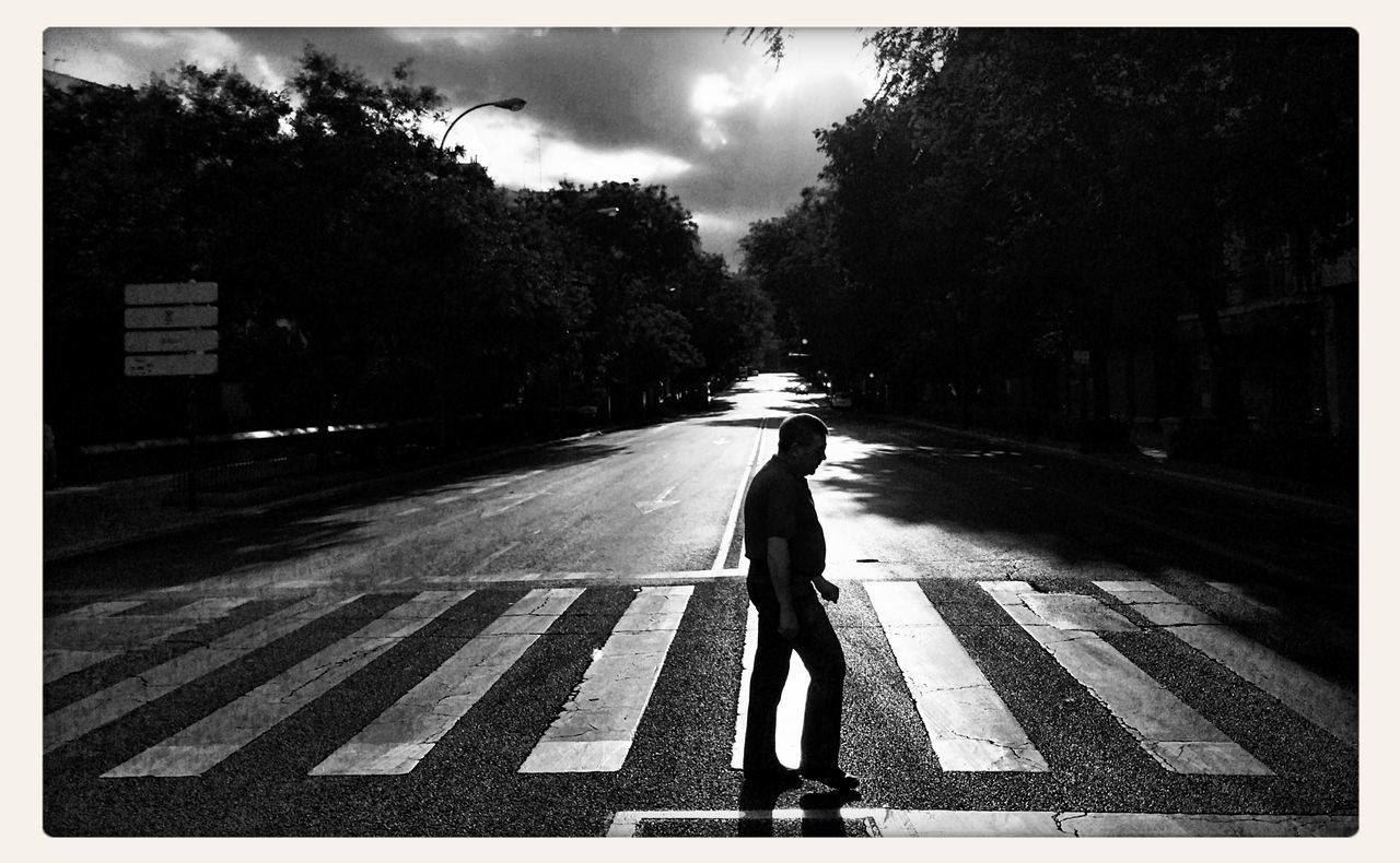 full length, road marking, zebra crossing, road, walking, rear view, street, tree, transportation, crossing, one person, outdoors, day, real people, women, nature, sky, city, people