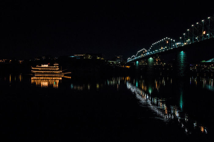 Night Reflection Star - Space Illuminated Arts Culture And Entertainment Water Nature City Bridge Boat Tennessee Chattanooga Tennessee Nightphotography Night Lights Night View Night Photography The Week On EyeEem City Light