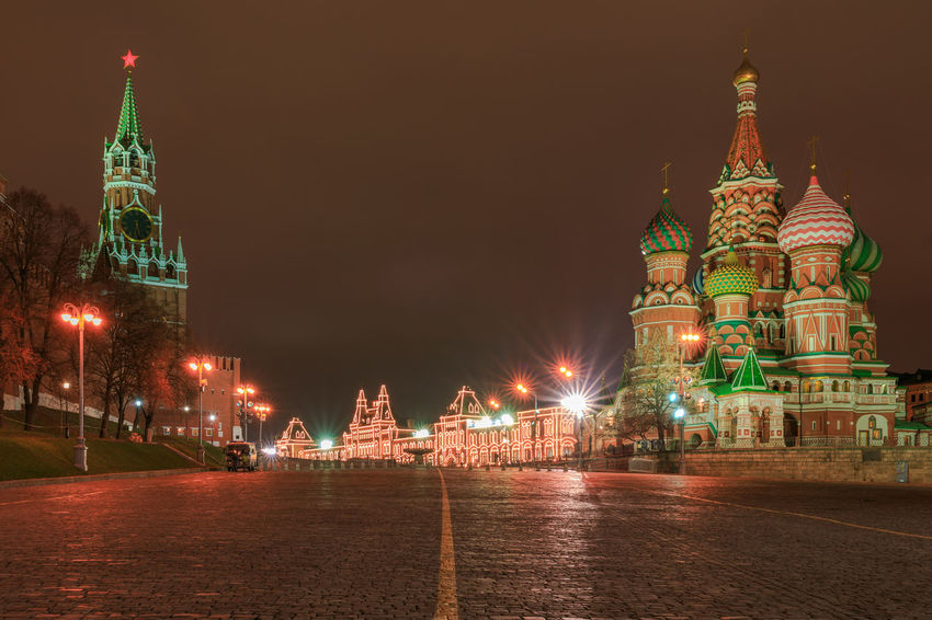 Saint Baisil's Cathedral on the red square in Moscow at night Architecture Illuminated Night Place Of Worship History Tower Tourism Travel City Travel Destinations Building Exterior Moscow Saint Basil's Cathedral Basilius Cathedral Kremlin Nightscape