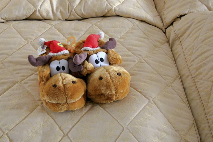 Big Eyes Childhood Christmas Day Foot Wear  Funny Indoors  No People Pair Reindeers Shoes Stuffed Toy Twins