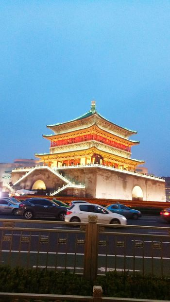 Arts Culture And Entertainment Architecture Travel Destinations Religion Built Structure History Tourism No People Travel Outdoors City Place Of Worship Blue Roof Cityscape Sky Royalty Building Exterior Night Representing Xian China