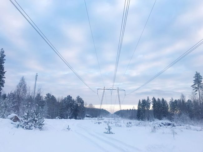 Winter Power Line  Cold Temperature Snow Electricity  Connection Electricity Pylon Sky Power Supply Weather Technology Nature Beauty In Nature No People Landscape Cloud - Sky Tranquility Outdoors Scenics