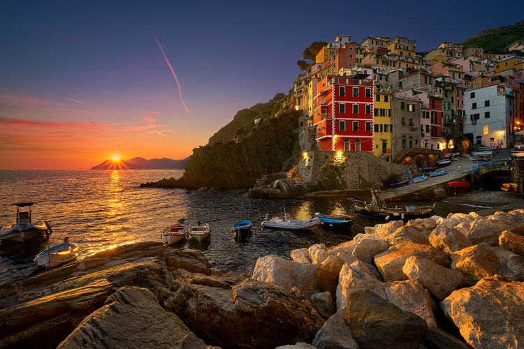 Riomaggiore is one of the five towns that make up the Cinque Terre region, located in the province of La Spezia, Liguria. This photo was taken on the Summer of 2016. Architecture Beauty Cinque Terre City Cityscape Dawn Europe Evening Italy Landscape Liguria Magical Marina Nature Outdoors Panorama Riomaggiore Seascape Shore Summer Sunset Tranquility Travel Vacations View The Great Outdoors - 2017 EyeEm Awards