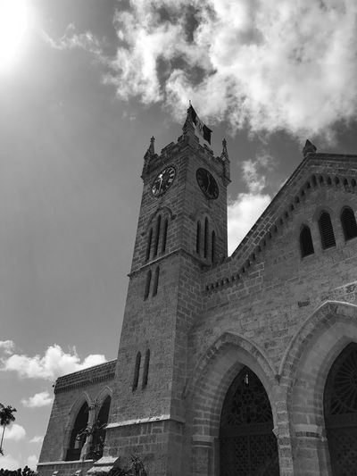 Arch Architecture Black And White Photography Building Exterior Built Structure Cloud - Sky Colonial Architecture Day Low Angle View No People Outdoors Parliament Barbados Place Of Worship Religion Sky Spirituality Sunbeam