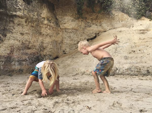 Kids Playing Beach Arid Climate Sand Boys Childhood Outdoors Carefree Vacations Live Oak Sunny Cove Beach Santa Cruz California Surfer Boys  Enjoy The New Normal Live For The Story