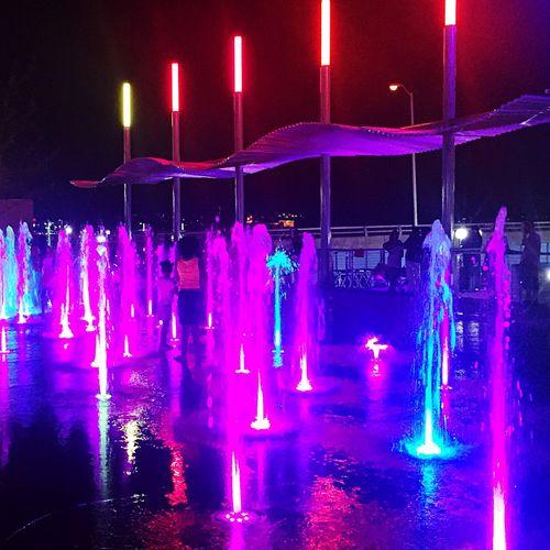 Neon Lights Fountains Night Lights