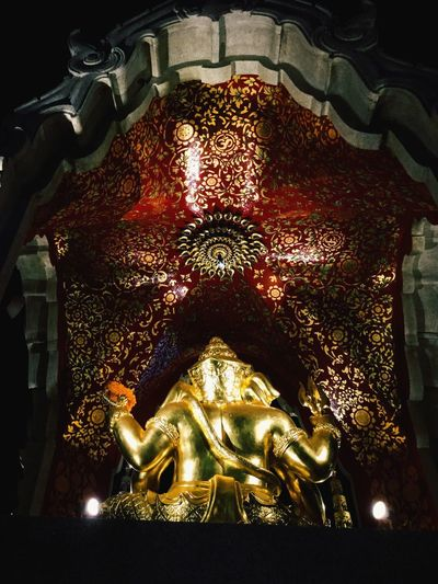 Golden Geneha Nightlight Bangkok Thailand. Ratpasok Thaland Genesha Indoors  Art And Craft Illuminated Architecture No People Representation Religion Lighting Equipment Human Representation Built Structure Creativity Spirituality Close-up Low Angle View Craft Gold Colored Belief Pattern