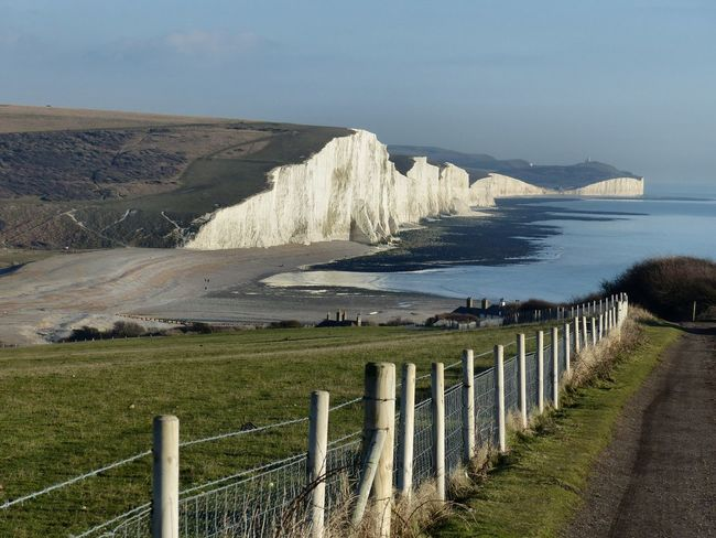 A view of the Cuckmere valley and Seven Sisters cliffs from Seaford Head - January 2017. Chalk Cliffs Cuckmere Haven East Sussex England Landscape Seaford Head Seven Sisters Cliffs Seven Sisters Country Park White Cliffs