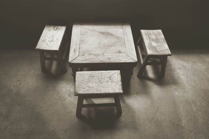 Blackandwhite Black And White Black & White Wood Table Simple Simple Life Table And Chairs Table And Bench Asian Table Architecture