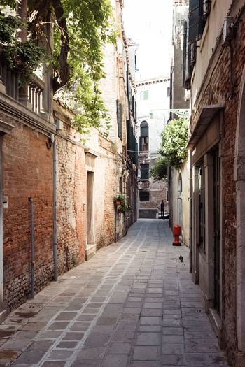 Alley Architecture Building Building Exterior Built Structure City Day Diminishing Perspective Direction Footpath House Narrow Nature No People Outdoors Residential District Street The Way Forward Town Venice