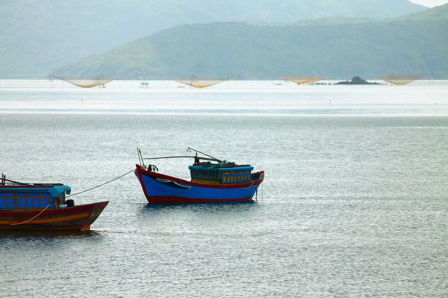 Qhuy Non, Vietnam Nautical Vessel Sea Transportation Mode Of Transport Moored Water Day Beach Sky Nature Outdoors No People Mountain Beauty In Nature Calm Seas Relaxation Vacations Travel Photography
