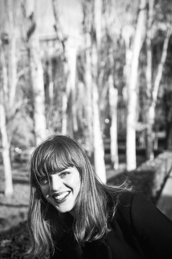 Autumn in Madrid Black And White Portrait Pretty Face  Smile Teeth Brunette Girl  Female Woman Park Trees Autumn Fall Linas Was Here The Modern Professional