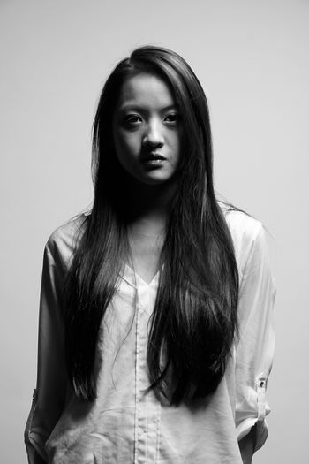 Blackandwhite Portrait Longhair Vietnamesegirl That Look Serious Beauty B&W Portrait