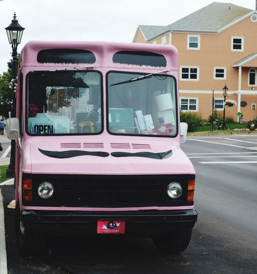 Mustache Food Truck Pink Color Transportation Mode Of Transport Day Land Vehicle Outdoors No People Sky City Close-up