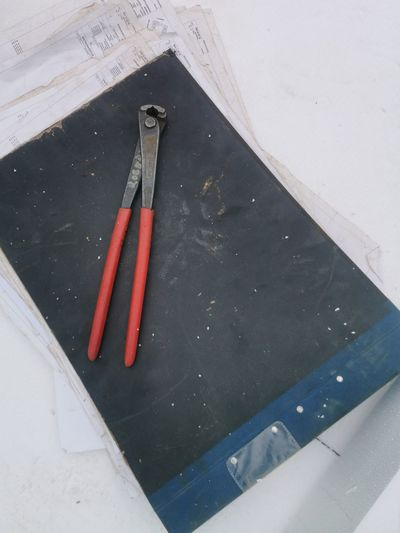 High angle view of pencil on table