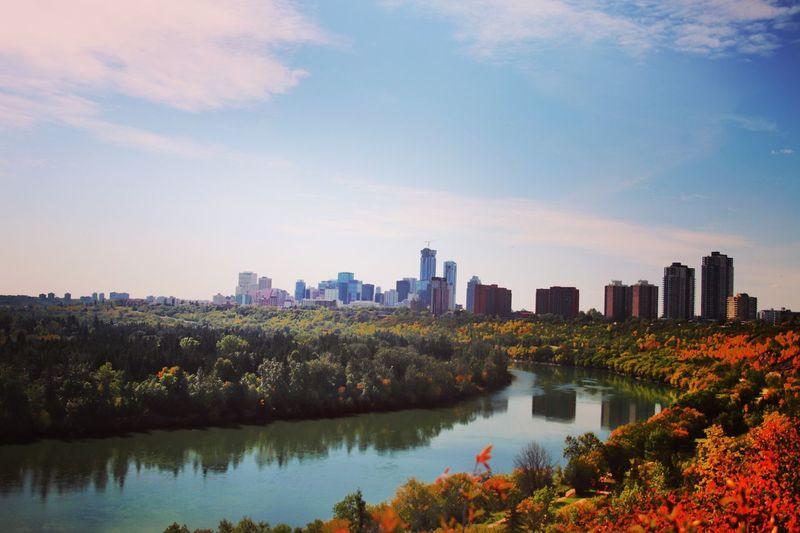 River Foliage Autumn🍁🍁🍁 City Architecture Sky Building Cityscape Water Urban Skyline Reflection Tree Autumn Mood