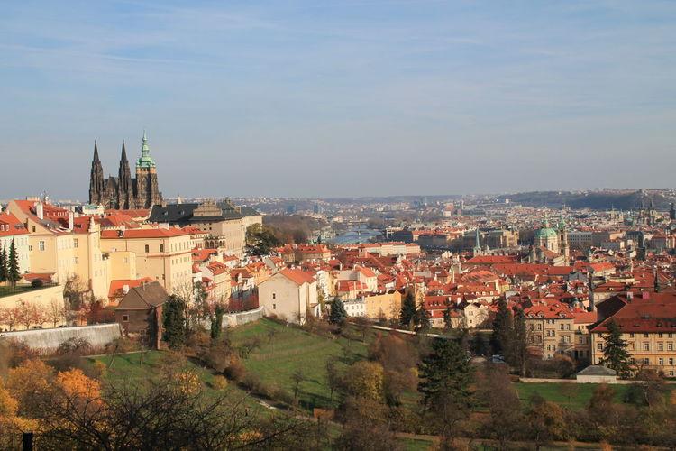 High angle shot of town