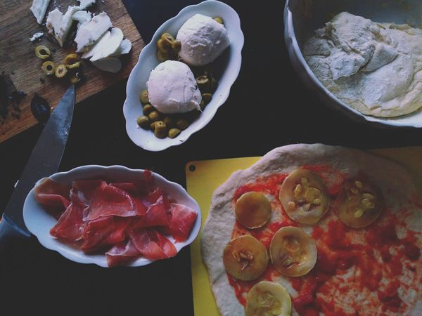 Preparing Food Freshness Pizza Time Pizza Dough Ingredients Food And Drink Mozzarella Basil Olives Prosciutto Baking Time Zucchini Freshness Food Olives Basil The Week On EyeEm
