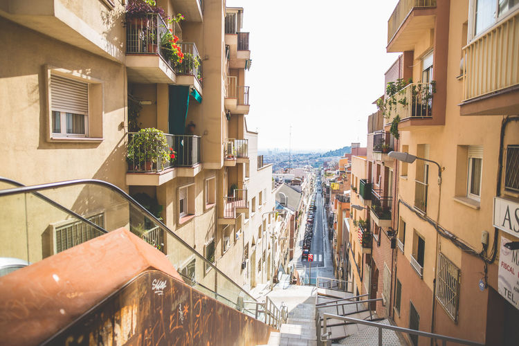 City view Barcelona Architecture Balcony Barcelona Built Structure City Life Exterior Houses Landscape Outdoors Residential Building Residential District SPAIN Street Urban