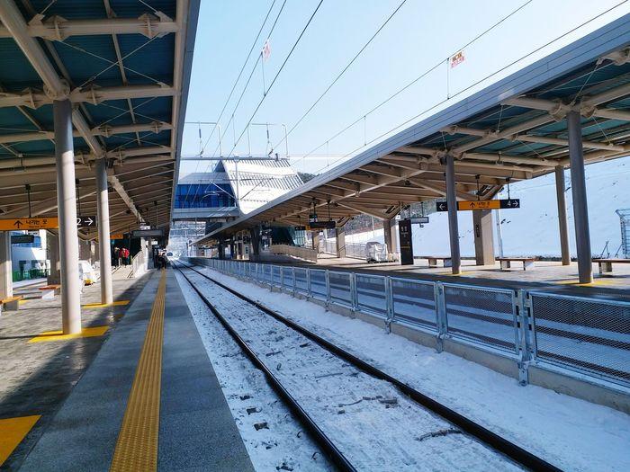 pyeongchang station Station Railway Railway Track Railwaystation Pyeongchang Korea Station Snow Winter Snow ❄ Track EyeEm Selects