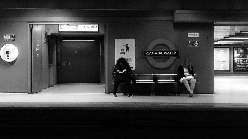 Waiting for the train. Train Station Traveling Travel Photography Waiting For A Train Waiting Platform Canada Water Blackandwhite Backandwhitephoto Streetphotography London Station Train