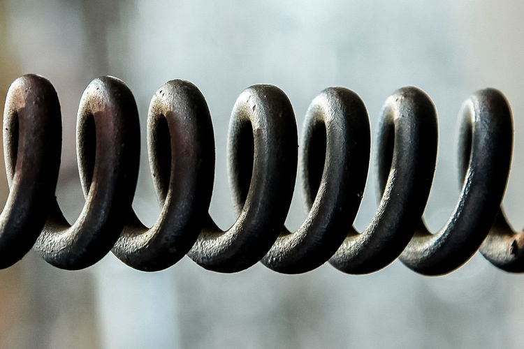 Close-up of black spiral metal