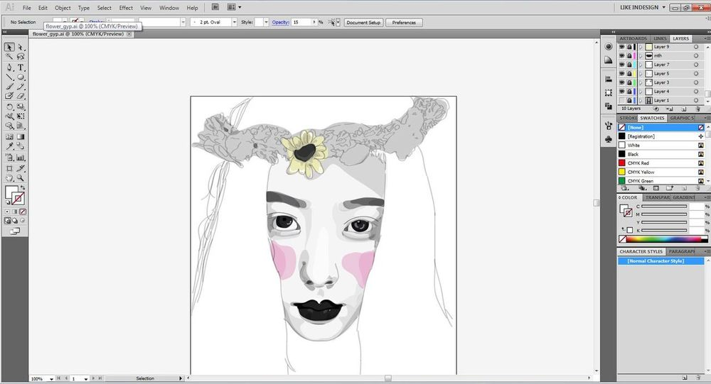 ฝึกลงสี!!!! Illustrator Art Drafts Draw