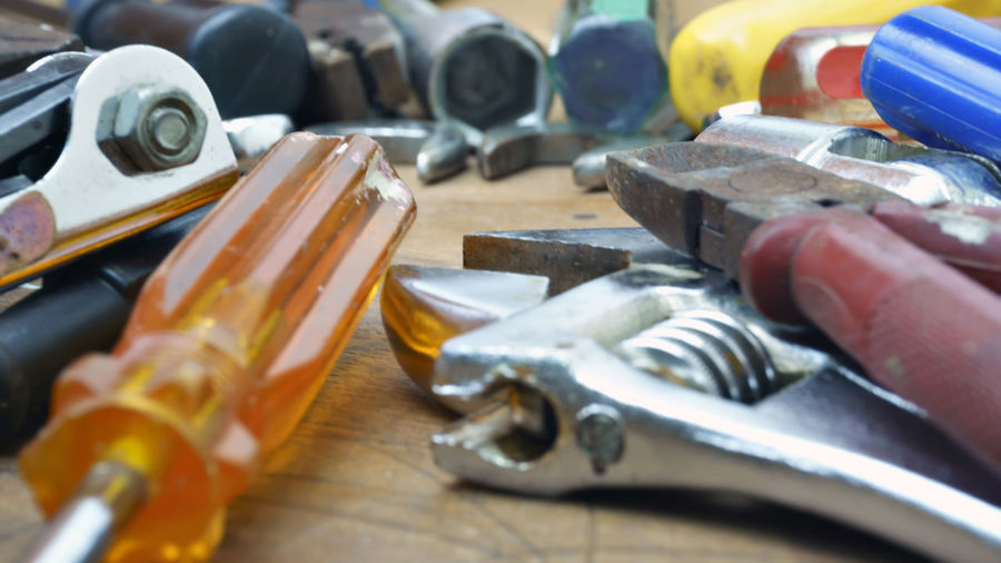 Close-up of work tools
