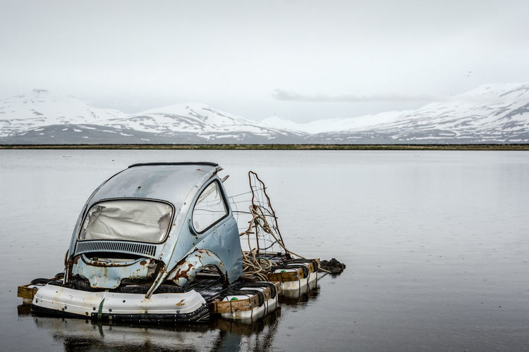 Fishing Hut Fjord Hut Iceland Iceland_collection Landscape Landscape_Collection Landscape_photography Landscapes With WhiteWall Outlook Recycling Upcycling Volkswagen Beetle