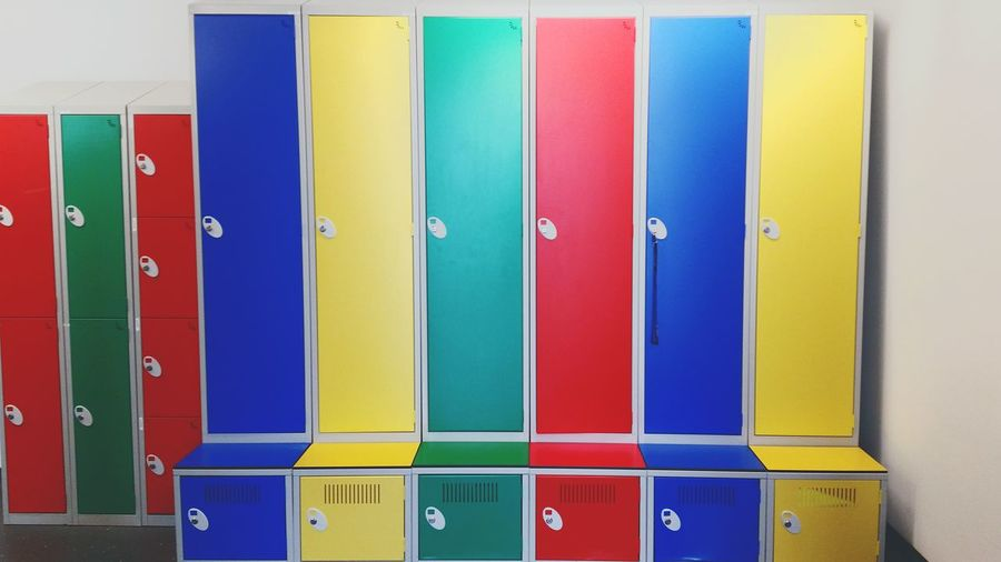 Colorful lockers in office