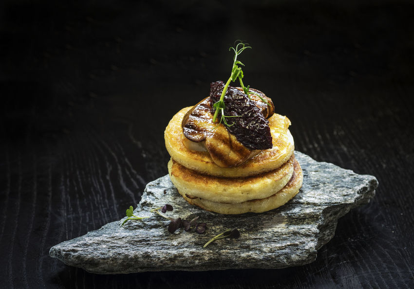 Pancakes with fried foie gras and onion marmalade Black Background Christmas Foie Food Freshness Fried Gourmet Gras  Marmalade Nature No People Onion Pancakes Space Unhealthy Eating