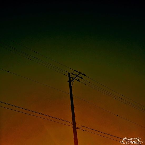 The Sunset The Evening Telephone Pole Sky Beauty Beautiful Beautiful Sky It Calms Down. Cable No People My World Nature Naturelovers Beautiful Nature Orange Sky Brown Color The Quiet EyeEm EyeEm Best Shots Eyeemphotography Photography Photographer ファインダー越しの私の世界