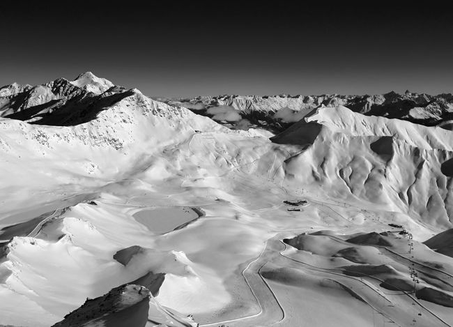 Austria Serfaus Beauty In Nature Black And White Blackandwhite Cold Temperature Day Landscape Mountain Mountain Range Nature No People Outdoors Scenics Sky Snow Snowcapped Mountain Tranquil Scene Tranquility Travel Destinations Winter